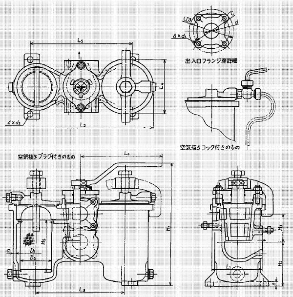 marine cast iron duplex oil strainer jis f7208 hu type