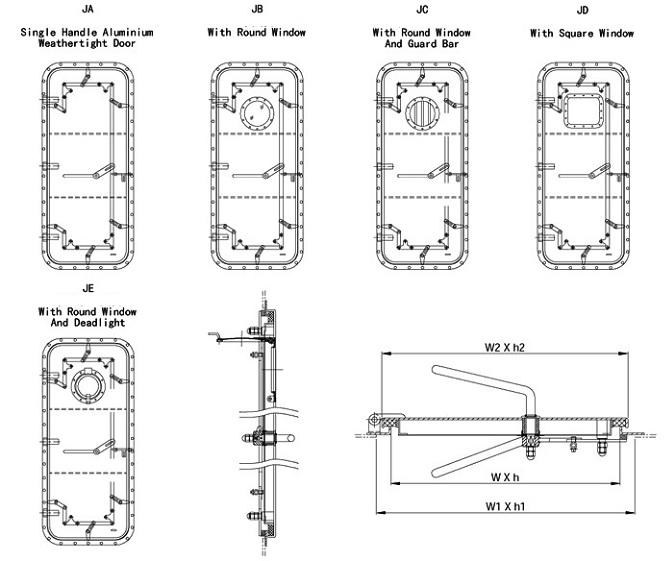 Marine Aluminum Quick Acting Weathertight Door With Single