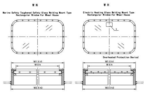 Steel Fixed Windows : Steel fixed rectangular window for wheelhouse with